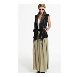 TBA 100% Silk Green Belted Maxi Skirt M